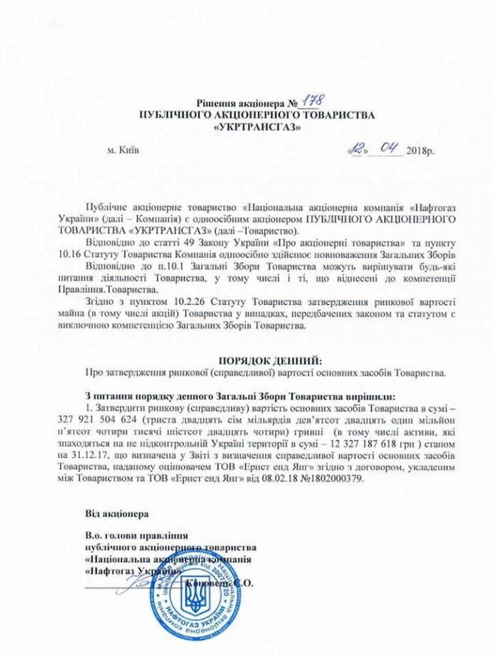 ГТС Украины оценили в 328 млрд грн