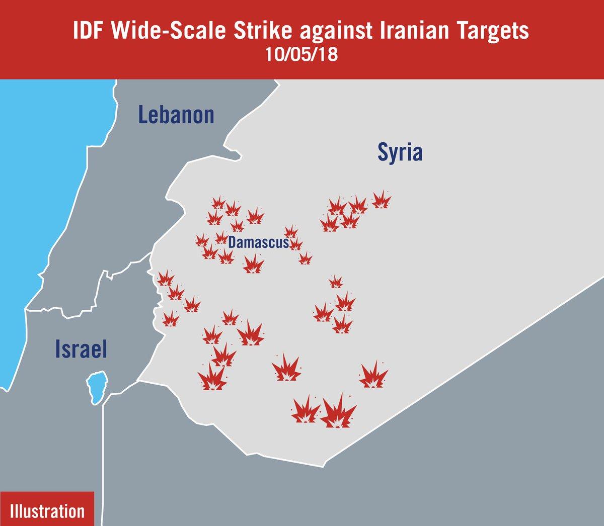 Карта пораженных Израилем целей в Сирии, опубликованная спикером ЦАХАЛ (иллюстрация - twitter.com/LTCJonathan)