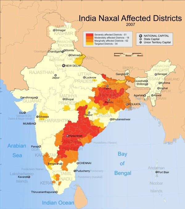 Территории влияния наксалитов в Индии в 2007 году (Источник - Википедия)