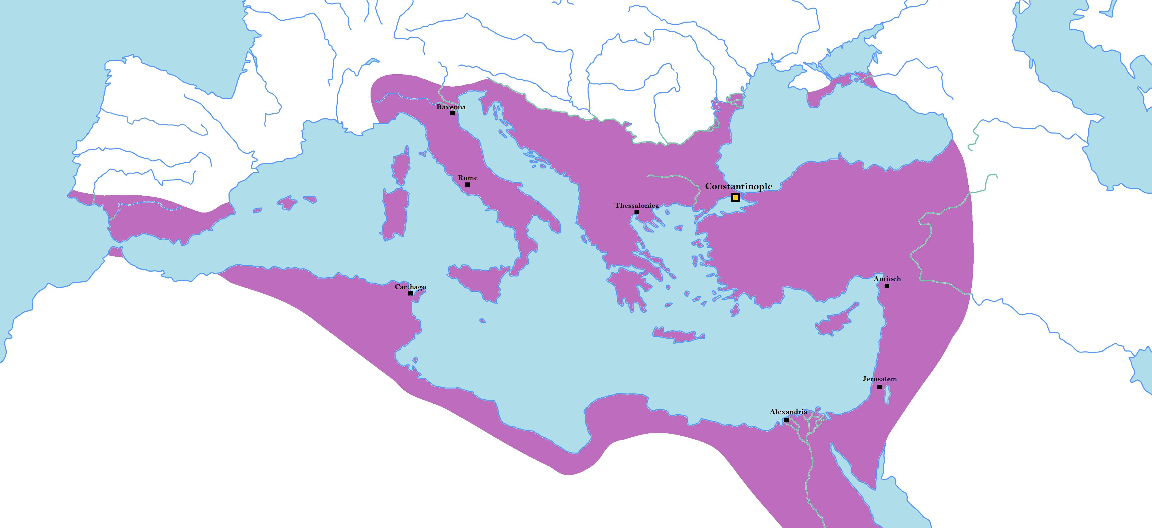 Территория Византии на пике могущества (6 в. н.э.)