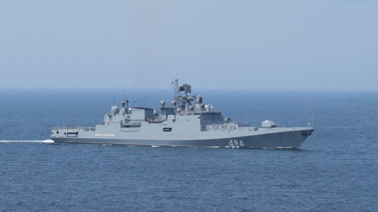 Российский фрегат «Адмирал Григорович» (RFS-494) – новейший класс фрегатов, которые будут построены по заказу ВМФ России для черноморского региона. © YouTube