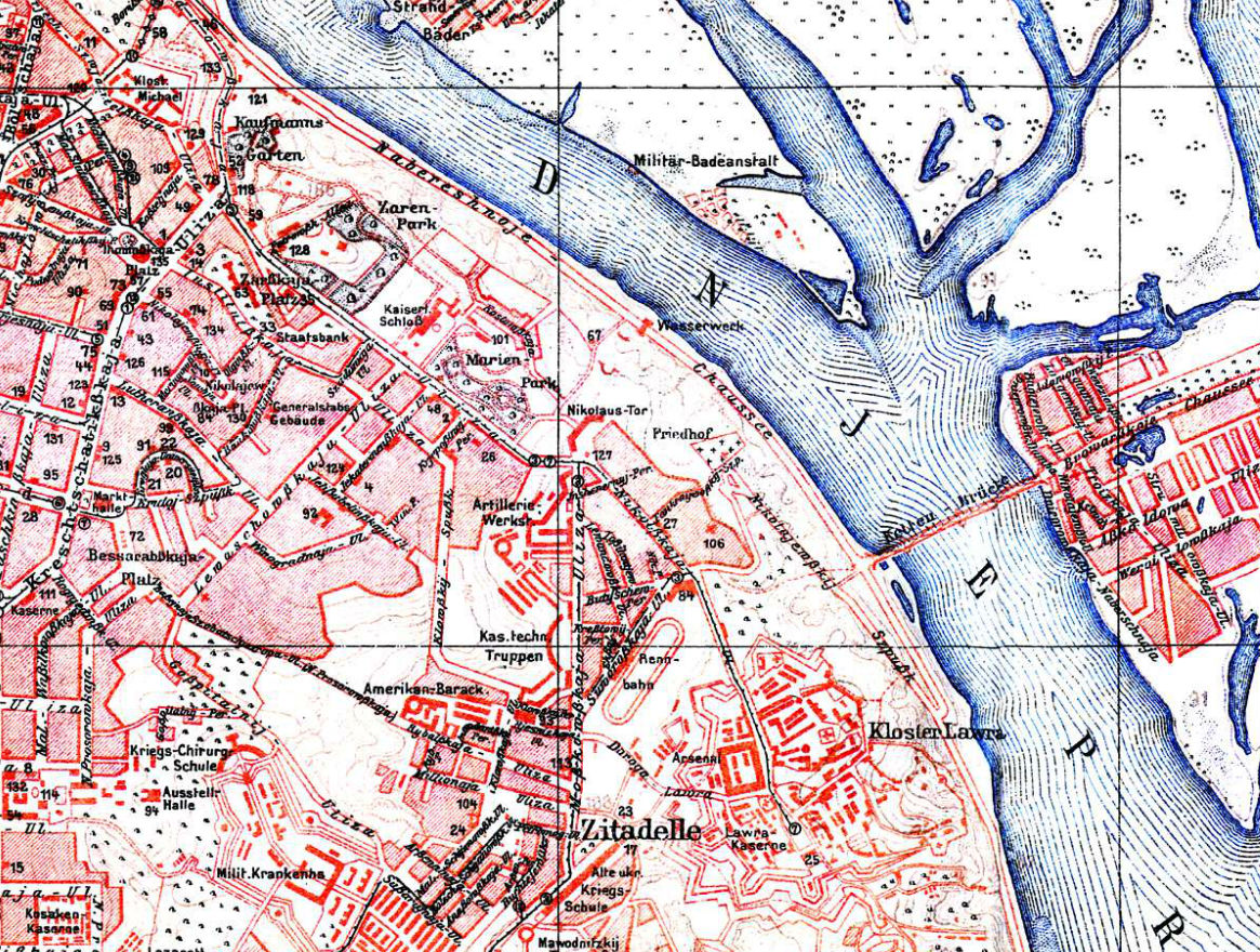 Центр Киева на немецкой карте 1918 года