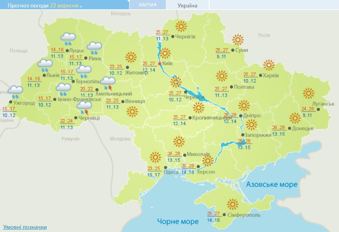 Погода в Украине: сегодня солнечно и тепло, дожди начнутся завтра