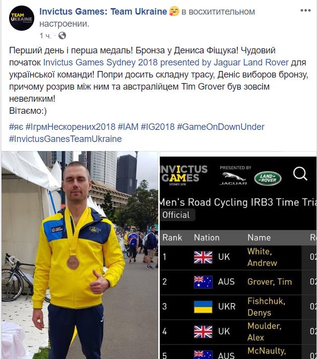 Игры непокоренных 2018— вАвстралии Украина завоевала бронзовую медаль