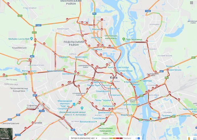 В Киеве из-за снега за полдня произошло уже 300 ДТП