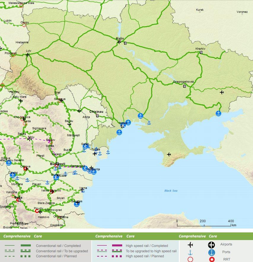 Украина стала частью Трансъевропейской транспортной сети - карты