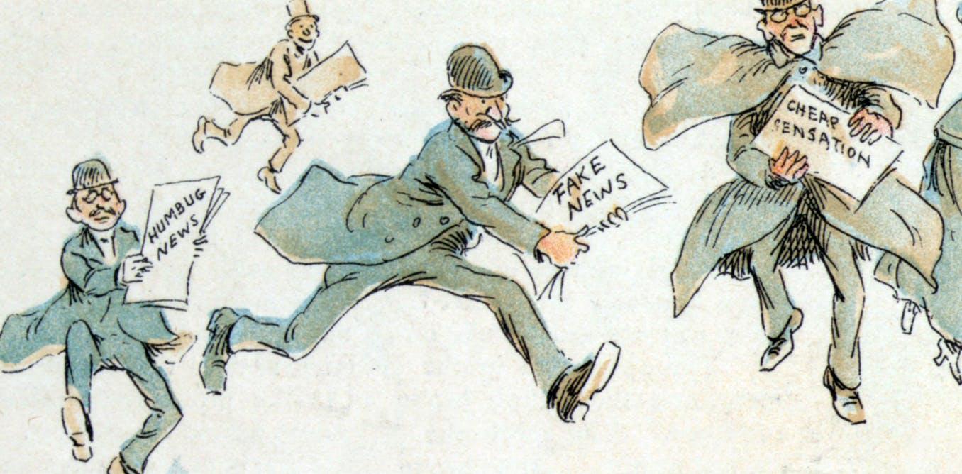 Карикатура 1894 года, высмеивающая пристрастие прессы к сенсациям. Художник Frederick Burr Opper