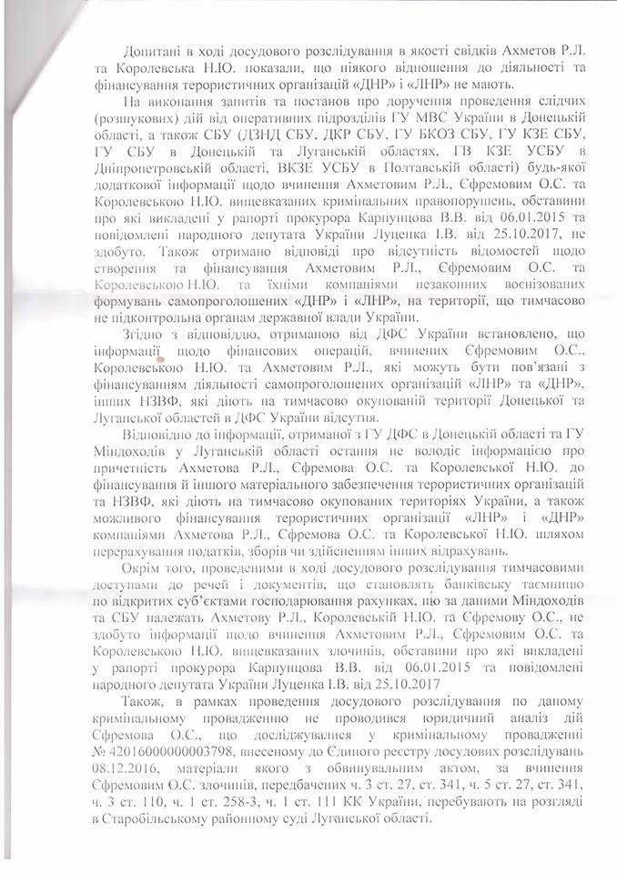 СБУ закрыла дело Ахметова, Ефремова и Королевской: документ