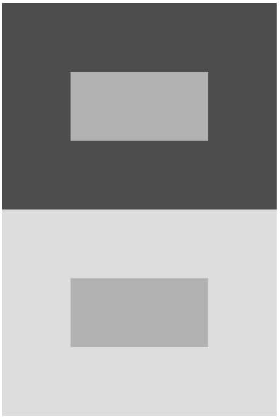 Иллюзии контраста: цвет внутренних прямоугольников не воспринимается как одинаковый