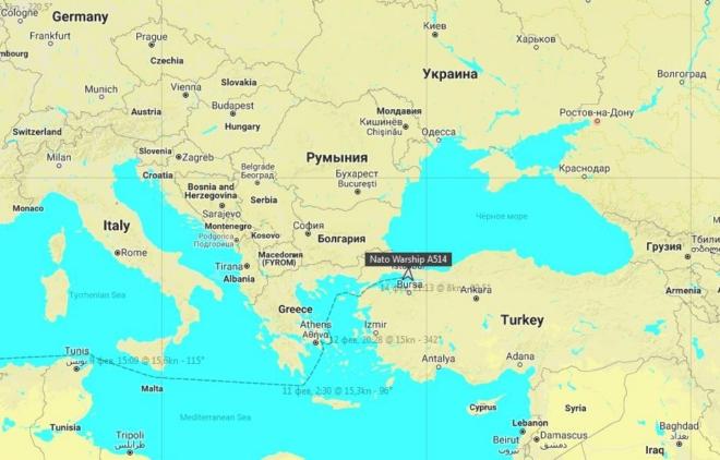 Военный корабль Германии выдвинулся в Черное море: карта
