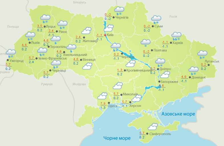 Украину накроют снегопады, ударит мороз: погода, карта
