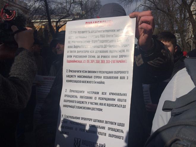 Нацкорпус передал свои требования Банковой: фото