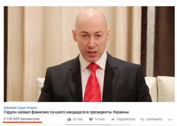 YouTube-канал Дмитрия Гордона (скриншот)