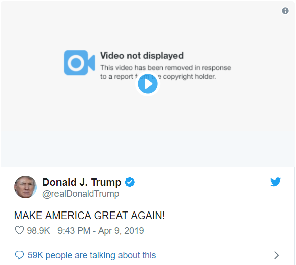 Twiiter впервые удалил публикацию Трампа