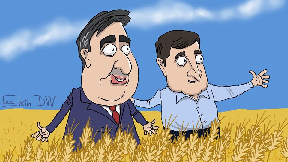 Камбэк Саакашвили. Карикатура о встрече политика с Зеленским