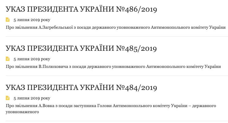 Зеленский начал чистки в Антимонопольном комитете
