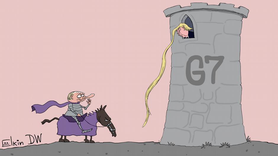 Путь Путина в G7 лежит через Трампа: карикатура Елкина - фото