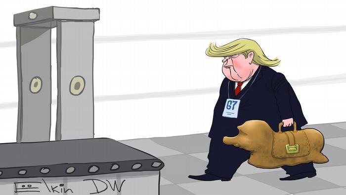 """Хоть тушкой, хоть чучелком. Трамп """"несет"""" Путина в G7: карикатура"""