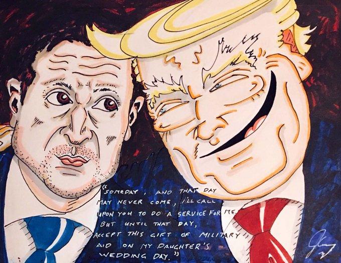 Актер Джим Керри нарисовал Трампа и Зеленского: карикатура