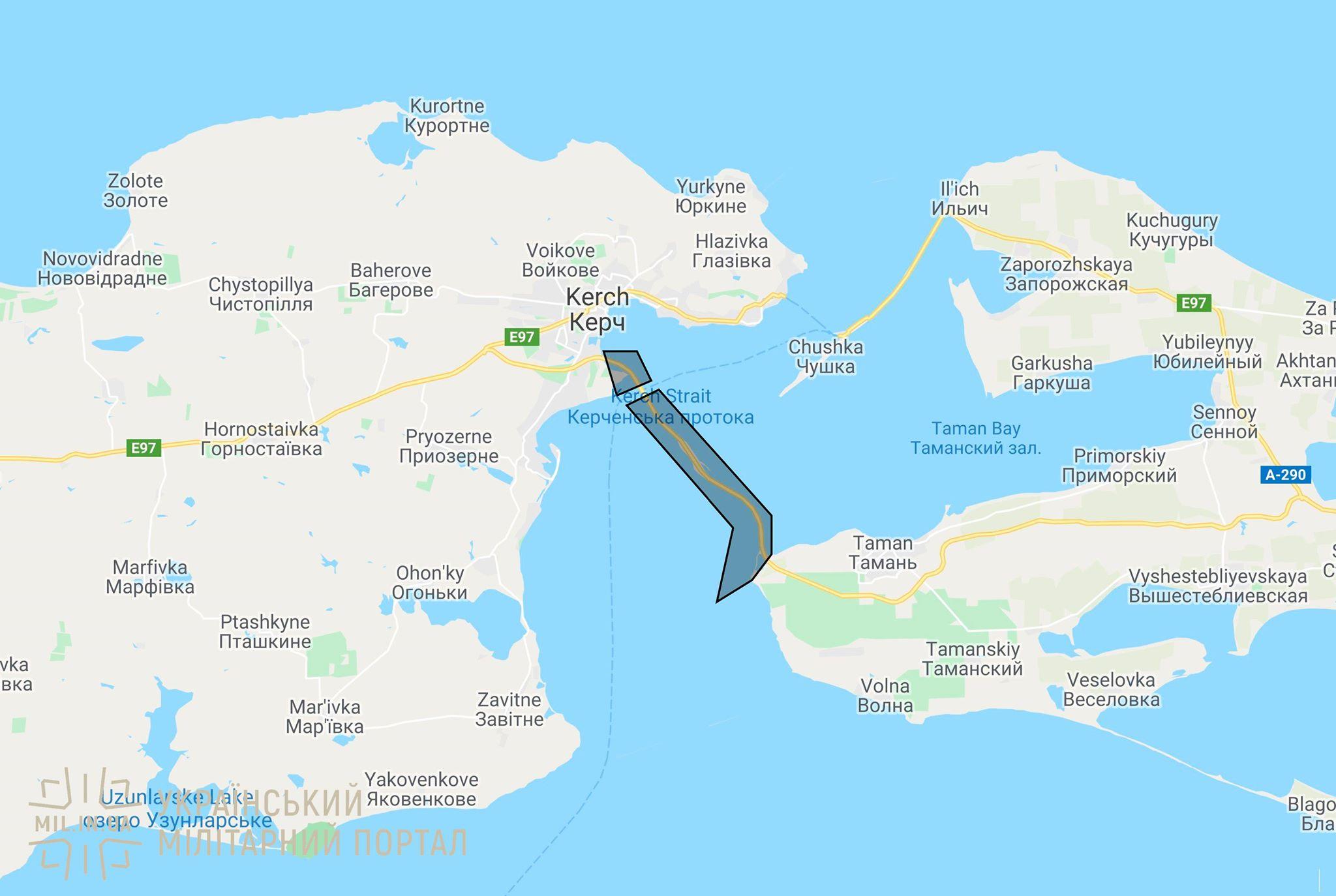 Карта закрытых Россией зон для судоходства