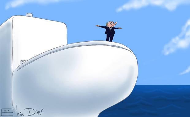 """Гальюнный """"Титаник"""" Путина: карикатура DW на ситуацию с кораблями"""