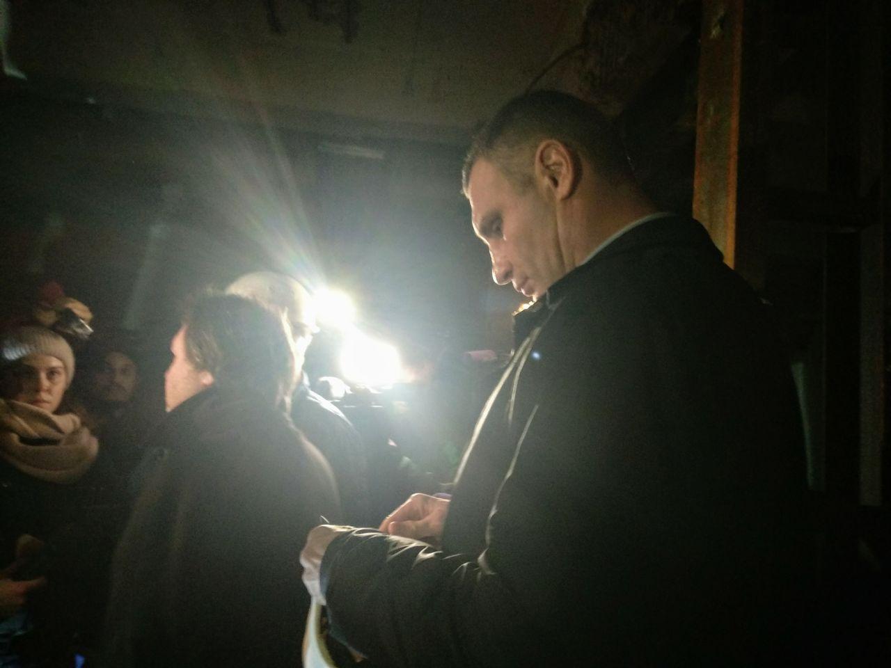 Виталий Кличко в подвале кинотеатра