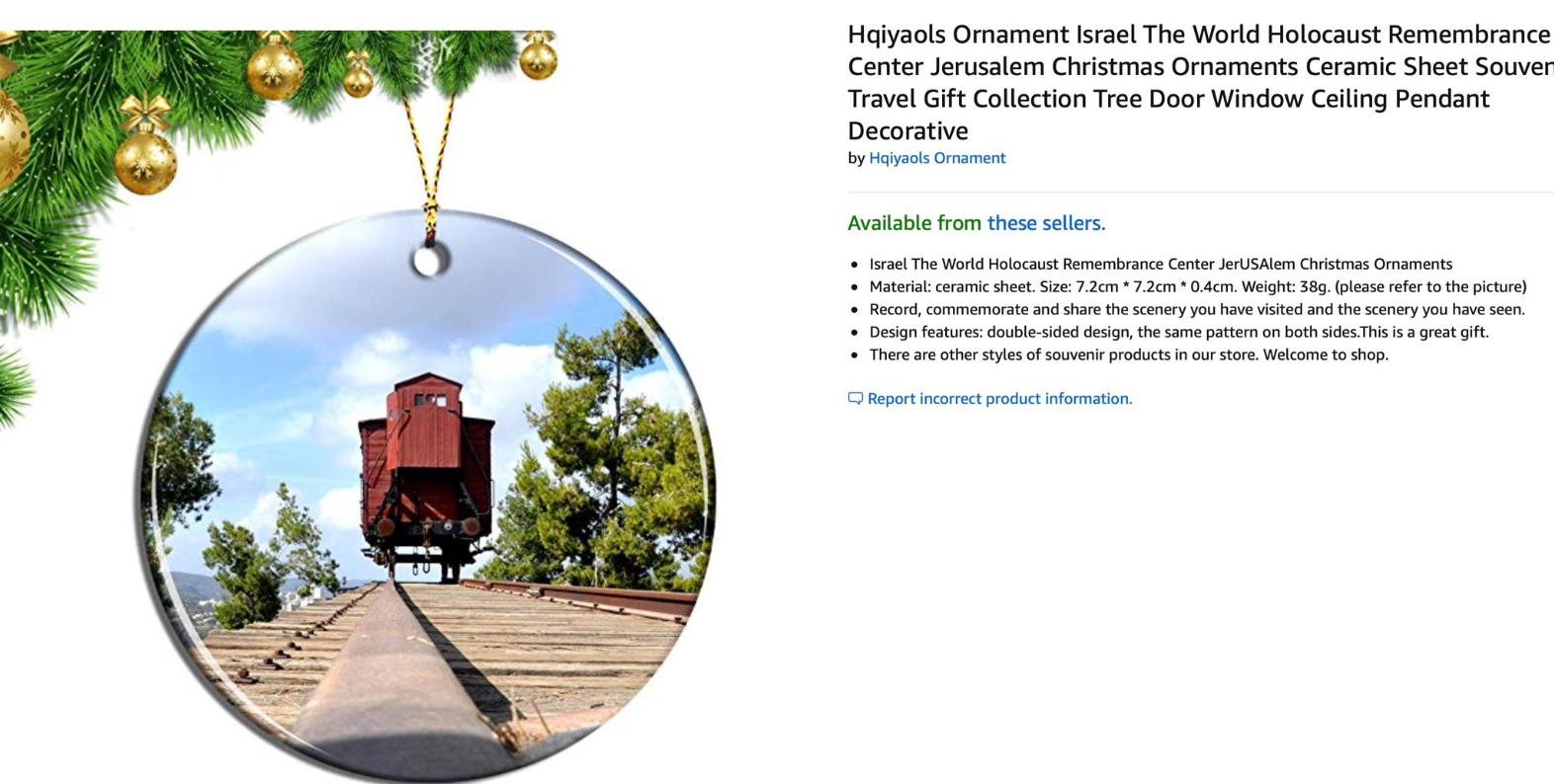 Сайт Amazon уличили вторговле елочными игрушками сизображениями Освенцима