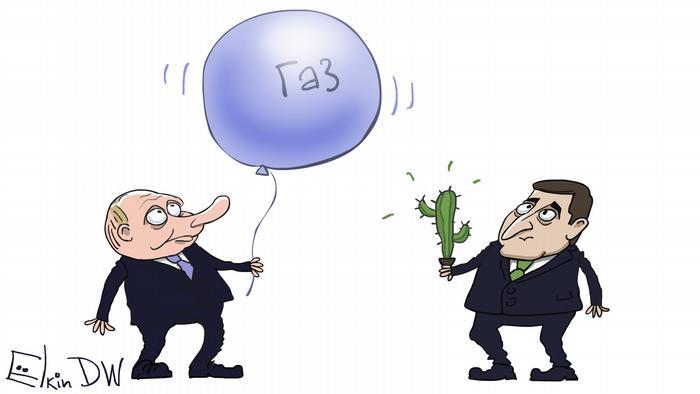 Встреча в Париже. Зеленский с кактусом, Путин и шарик: карикатура