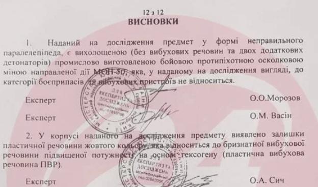 """""""Мина"""" Антоненко - не взрывное устройство: фото экспертизы"""