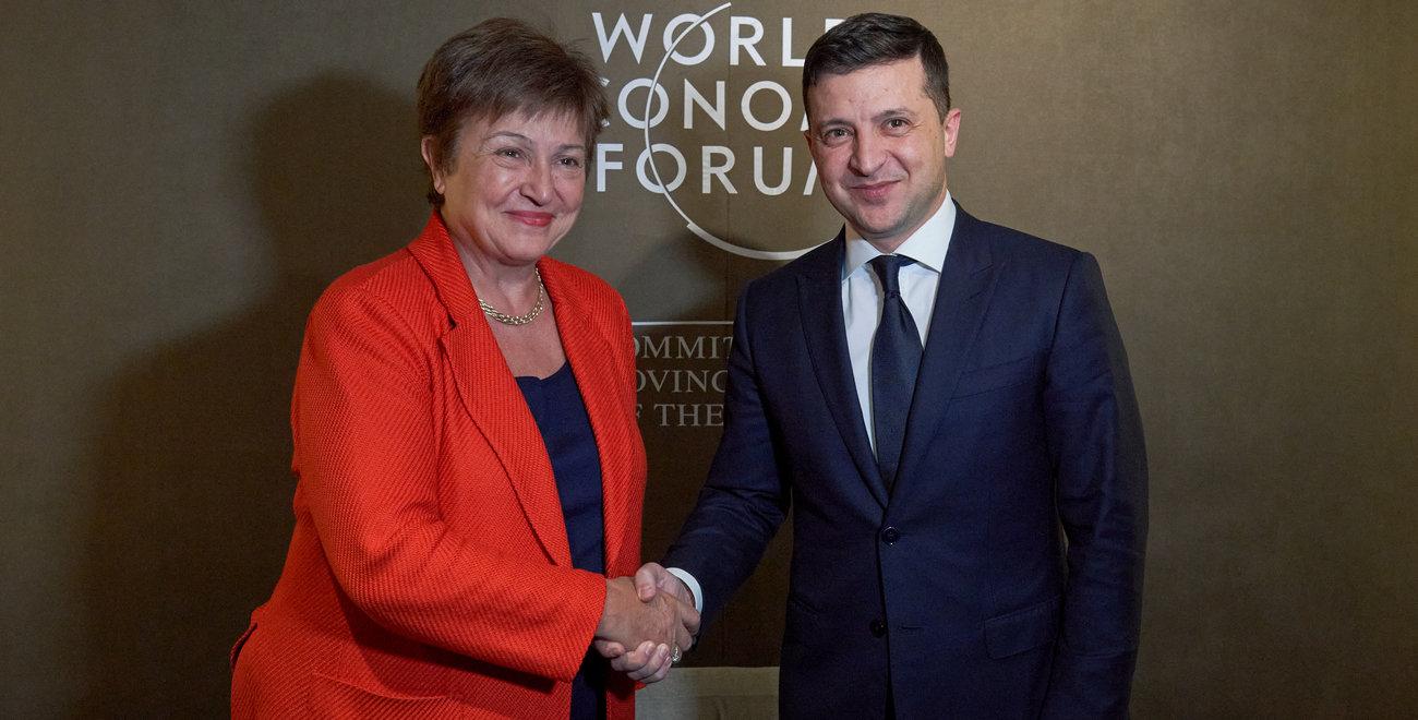 Директор-распорядитель МВФ Кристалина Георгиева и президент Владимир Зеленский (Фото: пресс-служба президента)