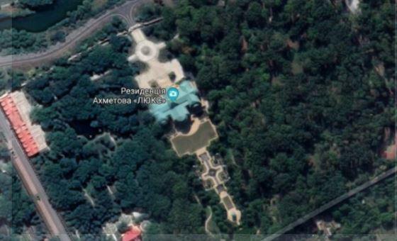 Особняк Ахметова в Донецке, скриншот из Google Maps