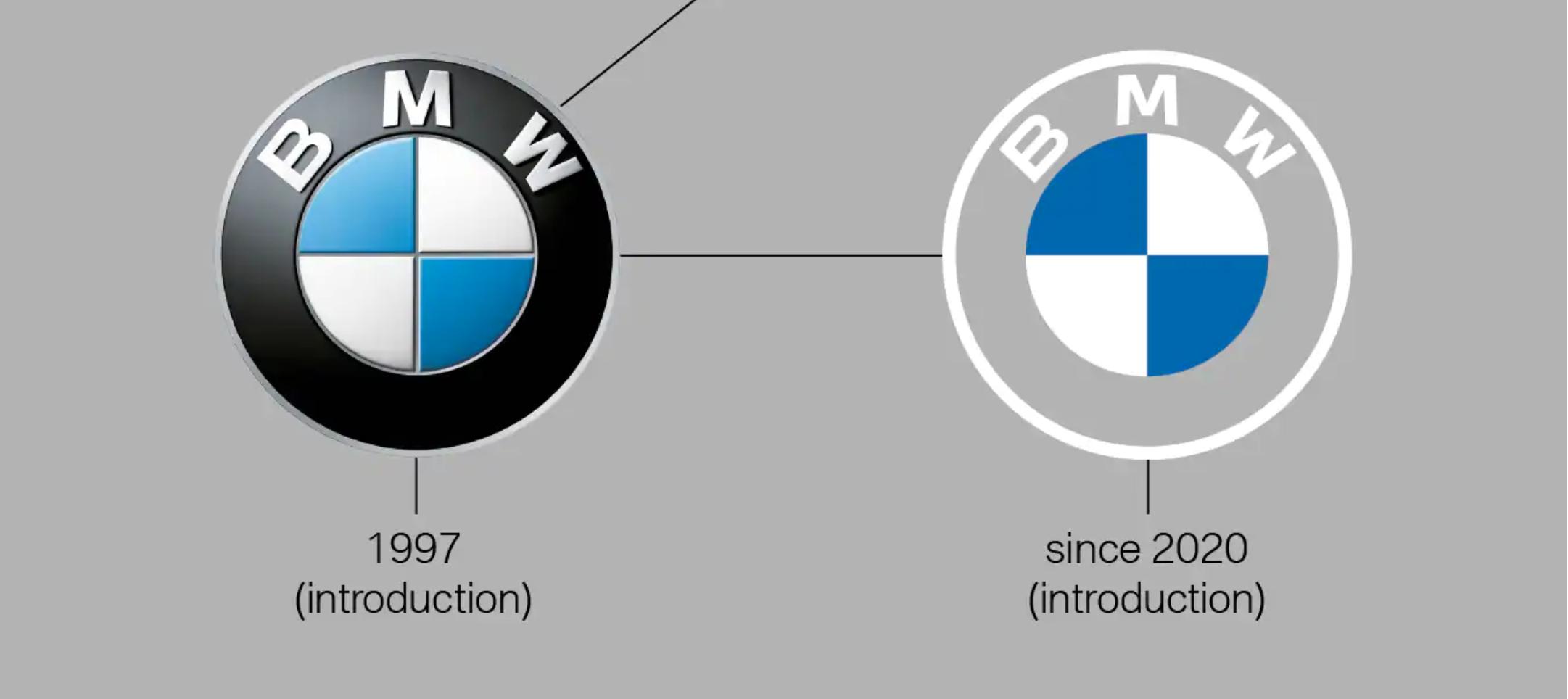 Старый и новый логотипы BMW