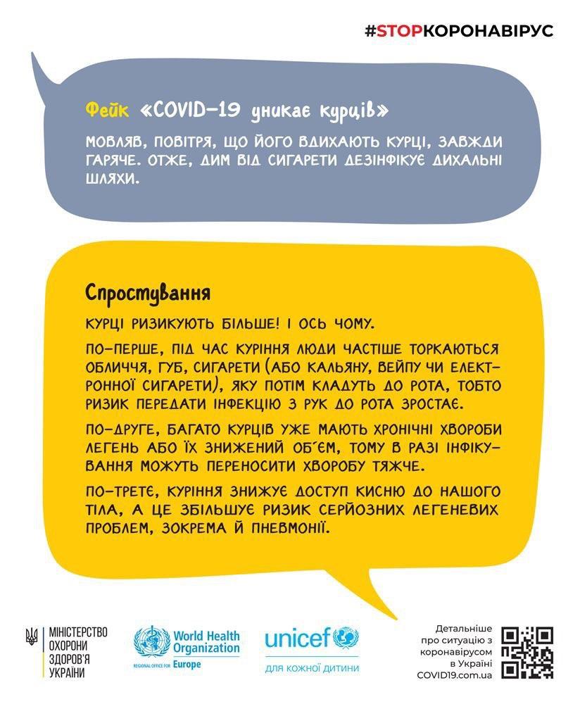 Фейк о защищенности курильщиков от коронавируса (Инфографика: Минздрав)