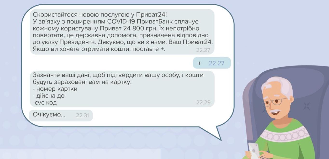 Пример сообщения, которые рассылают мошенники: НБУ