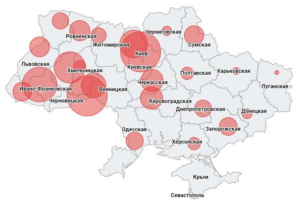 Минцифра показало карту Украины с нарушителями режима самоизоляции на 14 суток