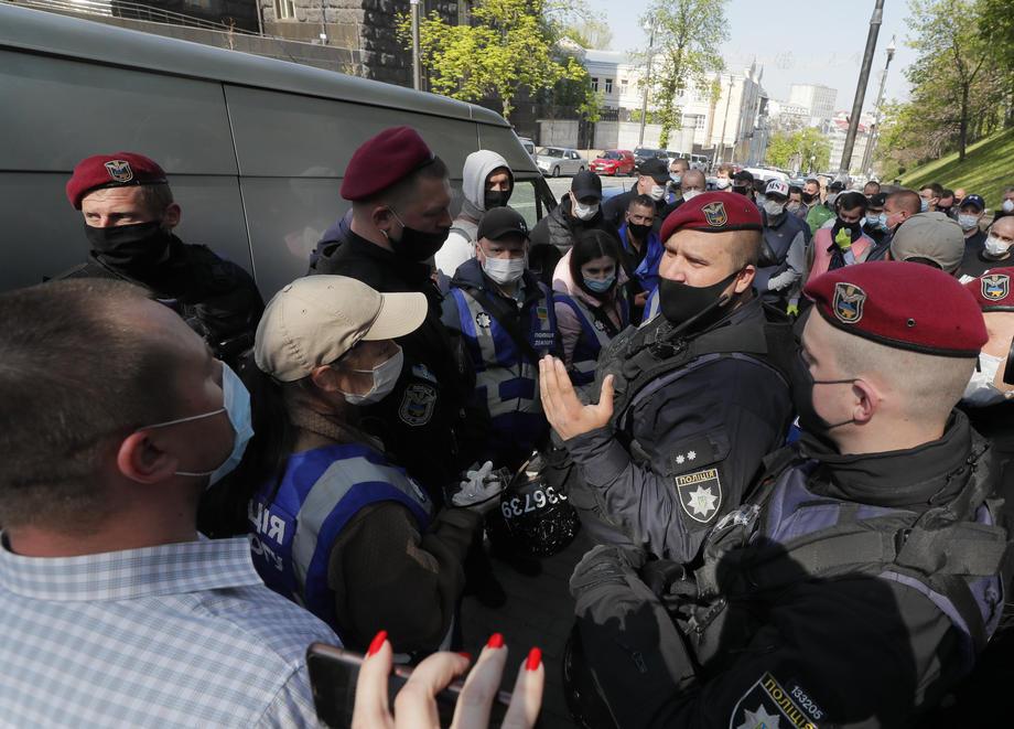 Акция протеста у здания Кабмина