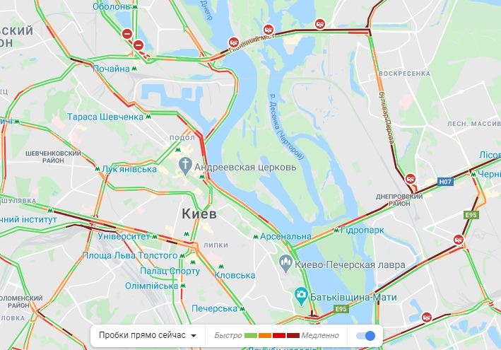 Пробки в Киеве 22 мая, фото: Пробки в Киеве 21 мая, фото: скриншот Google Maps