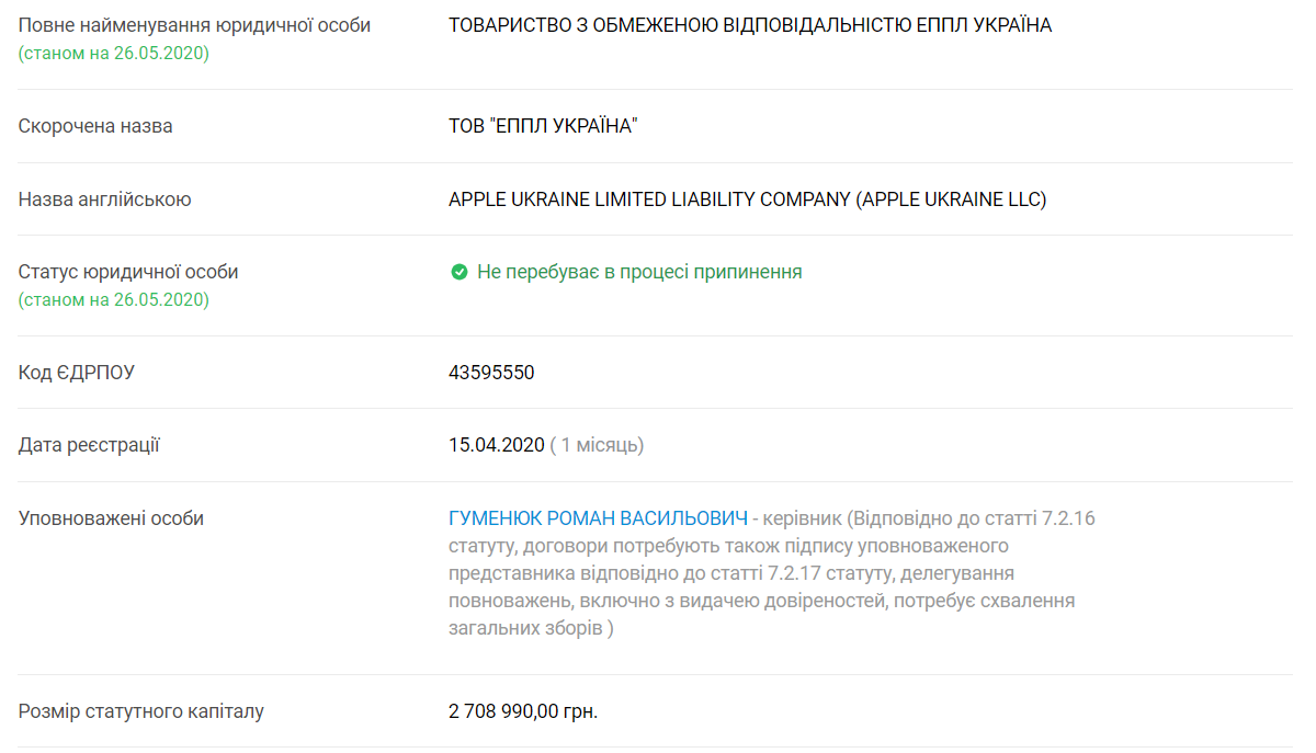 Apple зареєструвала представництво в Україні