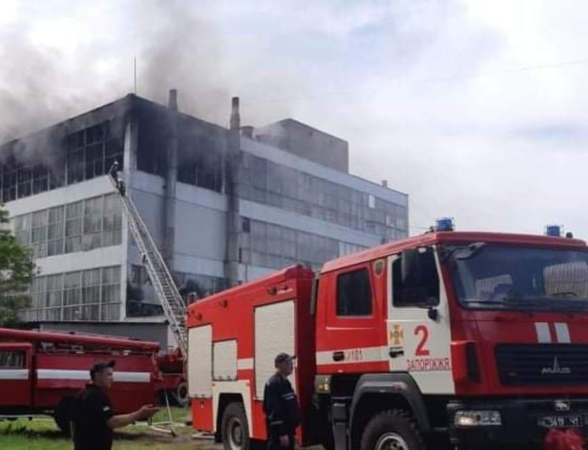 В Запорожье пожар на обувной фабрике