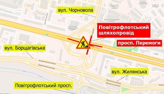 Схема ограничения движения на Воздухофлотском путепроводе (Карта: Киевавтодор)