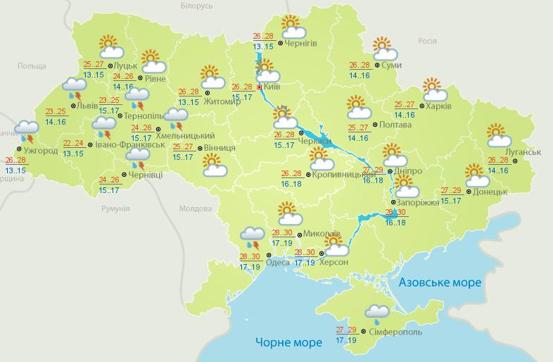 Карта погоды на 25 июня