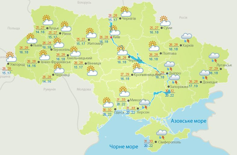 Карта погоды на 1 июля (фото - meteo.gov.ua)