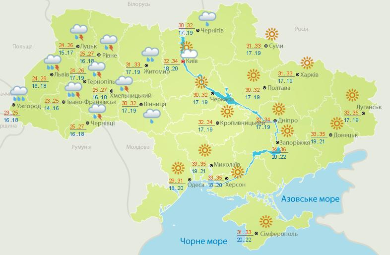 Карта погоды на 3 июля