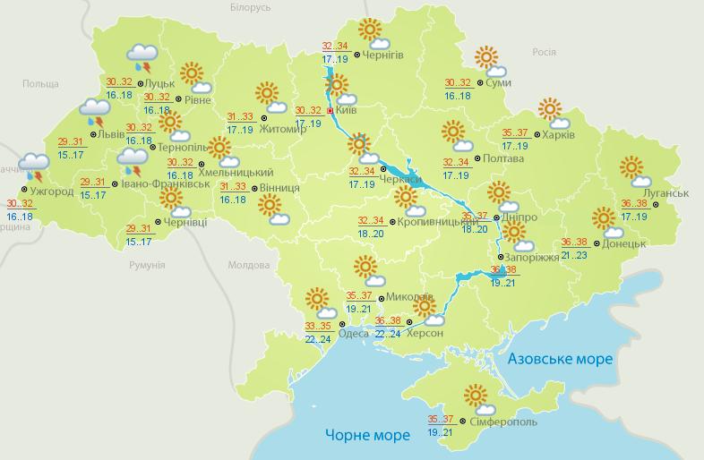 Карта погоды на 6 июля