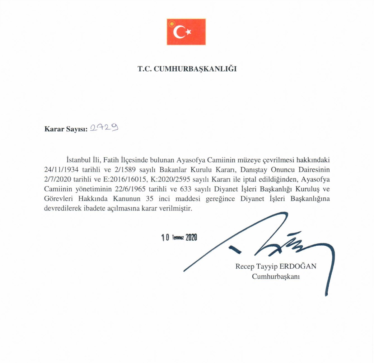 Указ Реджепа Тайипа Эрдогана об изменении статуса Айя-Софии (Фото: twitter.com/RTErdogan)