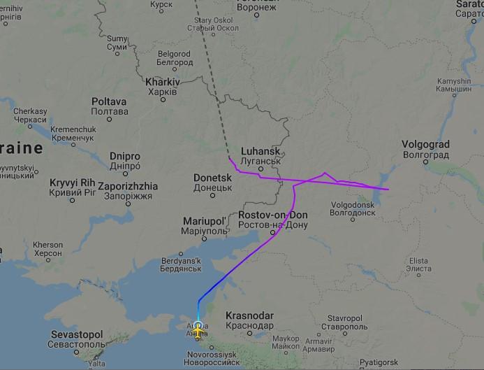 Схема полета российского самолета рейсом Анапа - Санкт-Петербург (фото - flightradar24.com)