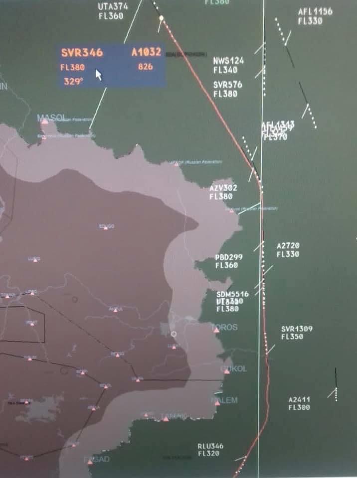 Схема полета российского самолета