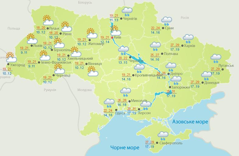 Карта погоды на 13 июля