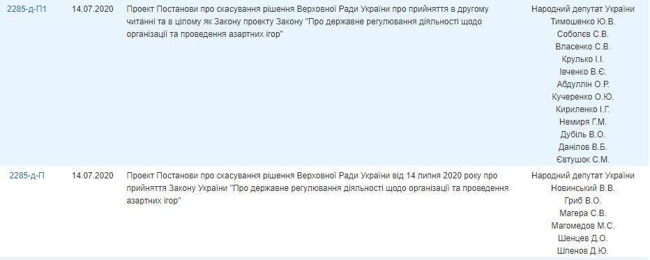 """Тимошенко і Новинський заблокували підписання """"грального"""" закону"""