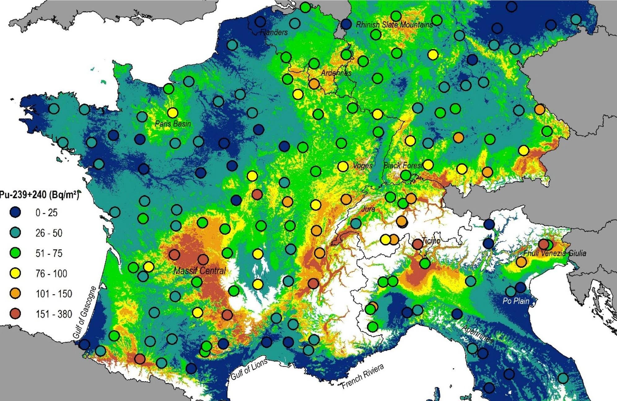 Составлена карта загрязнения Европы ядерными взрывами и радиационными авариями